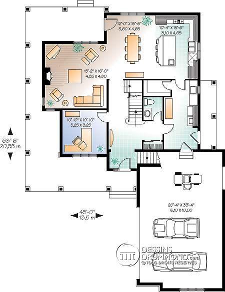 Détail du plan de Maison unifamiliale W3830 A1 House plan - plan de maison design