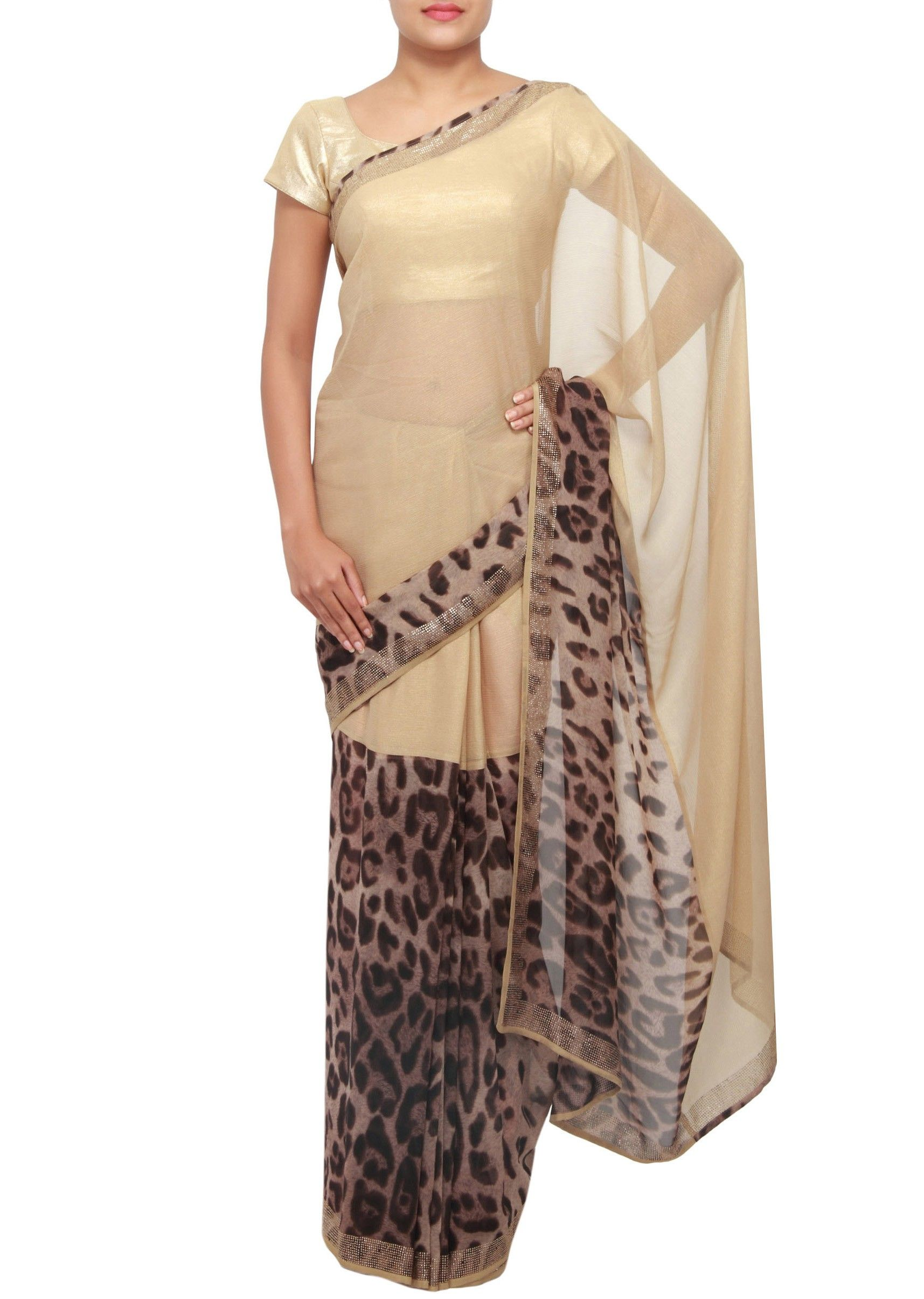 e450606018e5 Simple cream colored and leopard print saree. | Leopard | Fashion ...