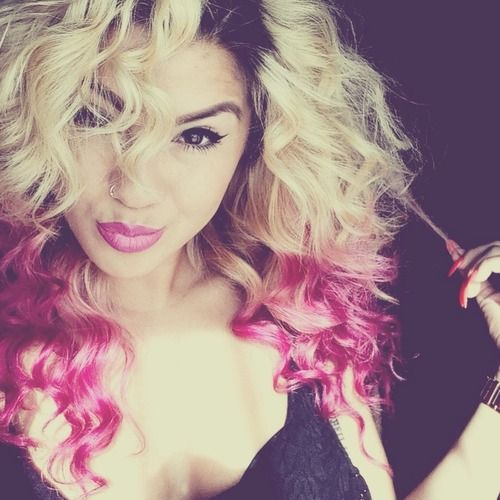 Curly Hair Curls Blonde Hair Pink Hair Dip Dyed Hair Pink Tips Brown Roots Hair Colors Hairs Curly Hair Styles Dip Dye Hair Blonde Hair With Highlights