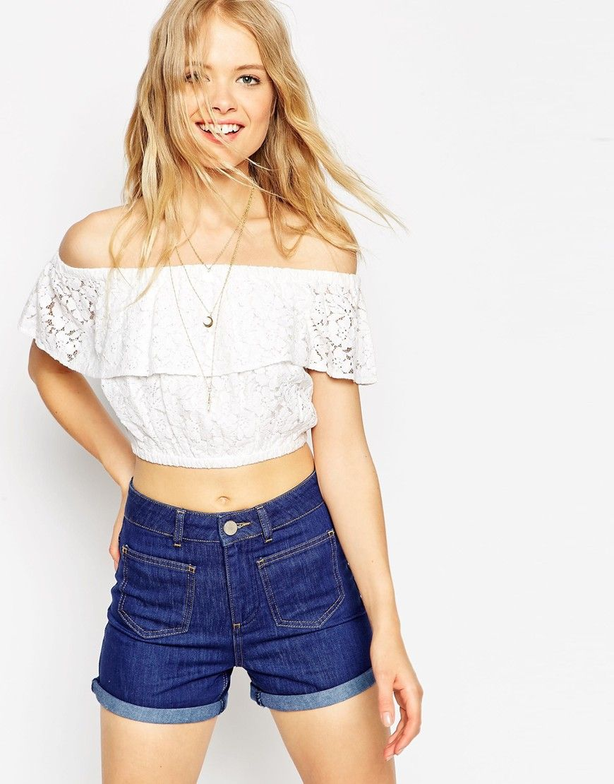 96b8da5498b56 Image 1 of ASOS Cropped Off the Shoulder Top in Lace
