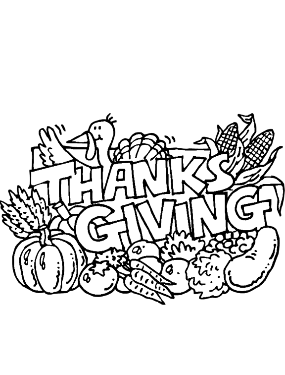 Thanksgiving Feast Coloring Page