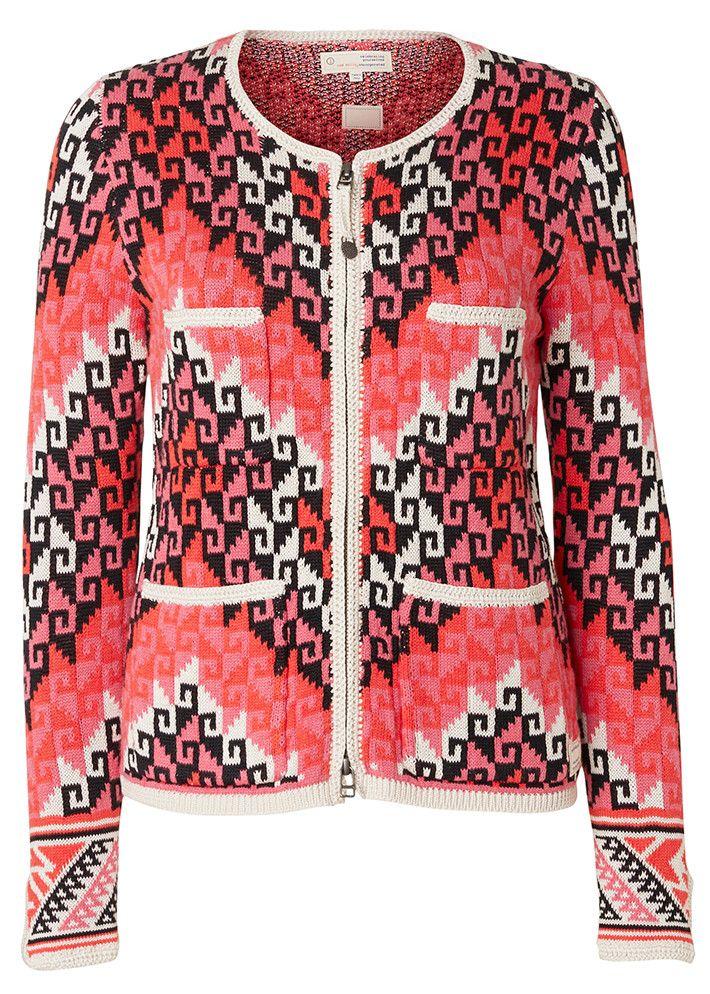 Odd Molly Cardigan rød mønstret 117M-650 Chillax Cardigan - multi – Acorns
