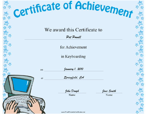This keyboarding achievement certificate features a computer this keyboarding achievement certificate features a computer keyboard and monitor appropriate to recognize typing yadclub Image collections