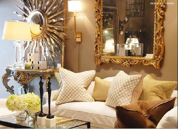 Total Full On Glam Via Shabby Slips Rococo Mirror White Sofa Taupe Walls Silver Sunburst Iron Glass Coffee Table And Yellow Pillows
