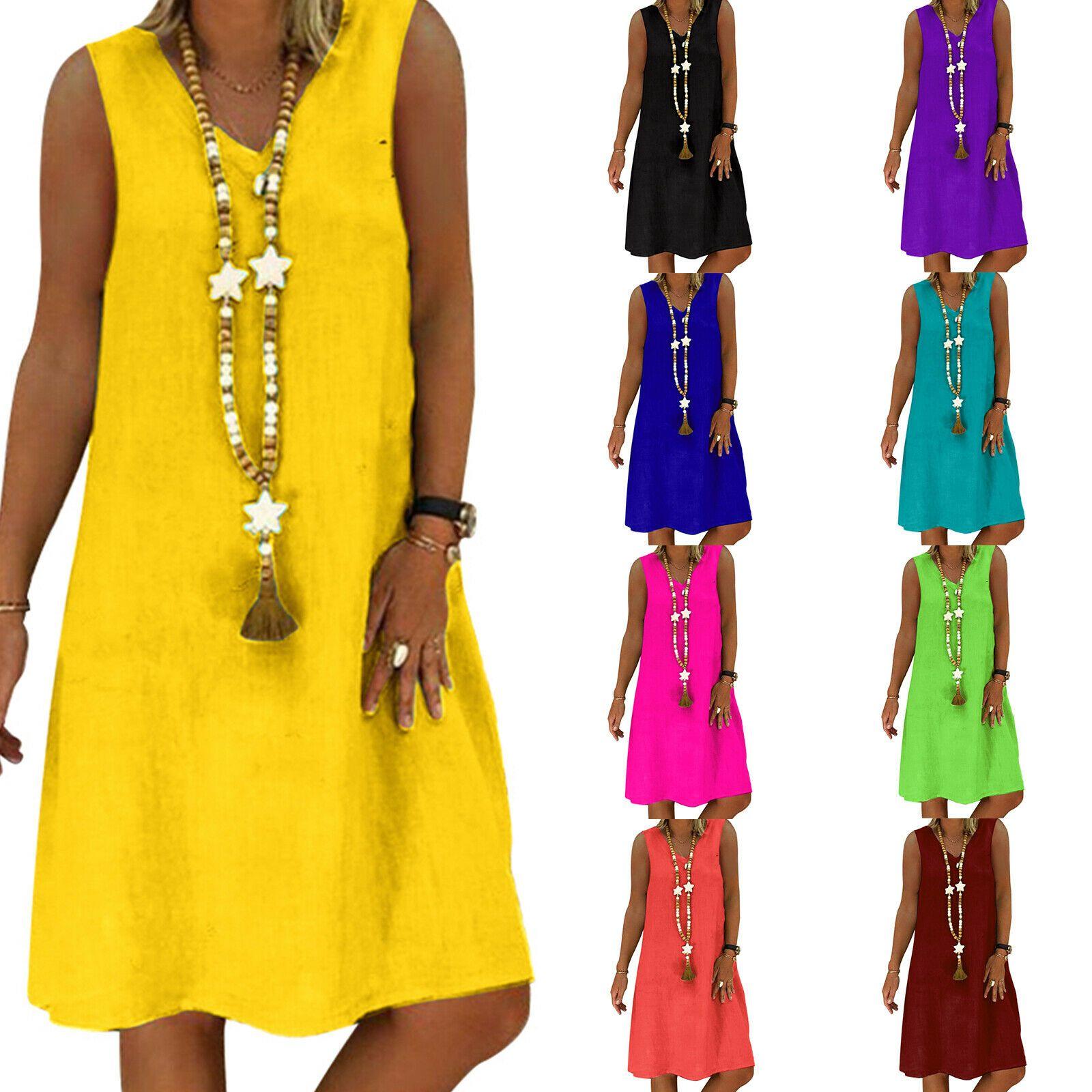Women Summer Vest Sleeveless Sundress Tank Top Casual Loose Midi Dress Plus Size In 2020 Midi Dress Plus Size Loose Midi Dress Casual Summer Dresses [ 1600 x 1600 Pixel ]