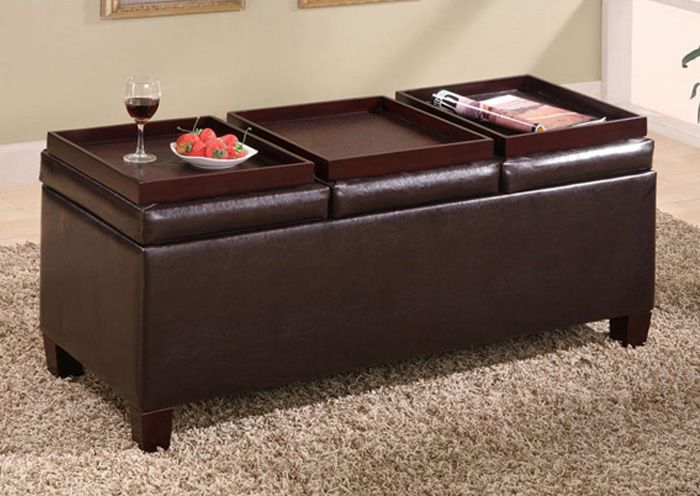 Durable leather-like vinyl storage ottoman with three trays. | wants ...