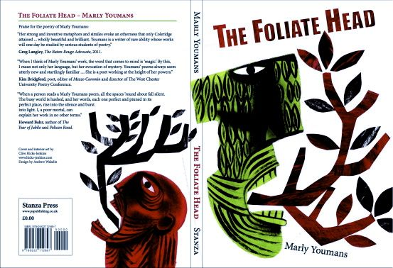 Clive Hicks-Jenkins cover artwork for 'The Foliate Head' by Marly Youmans, Stanza Poetry. Designed by Andrew Wakelin