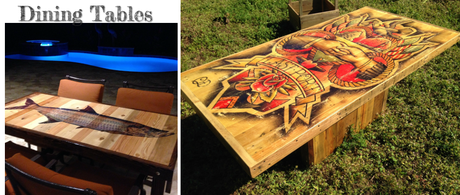 Superieur Reclaimed Wood Tables With Tattoo Art Or Any Image You Want | Shipyard, Ink.