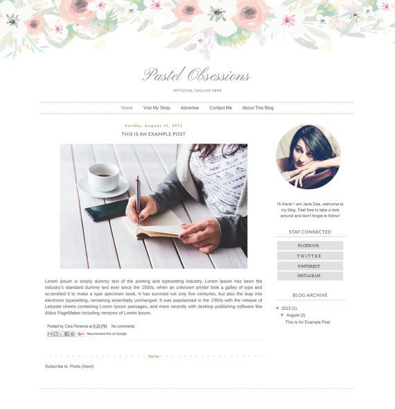 SUMMER SALE! Blogger Template Responsive - Watercolor Floral Blog ...