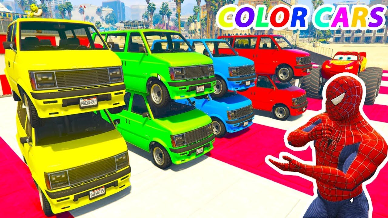 Learn Color For Children With Spiderman On Truck Small Cars In Cartoon