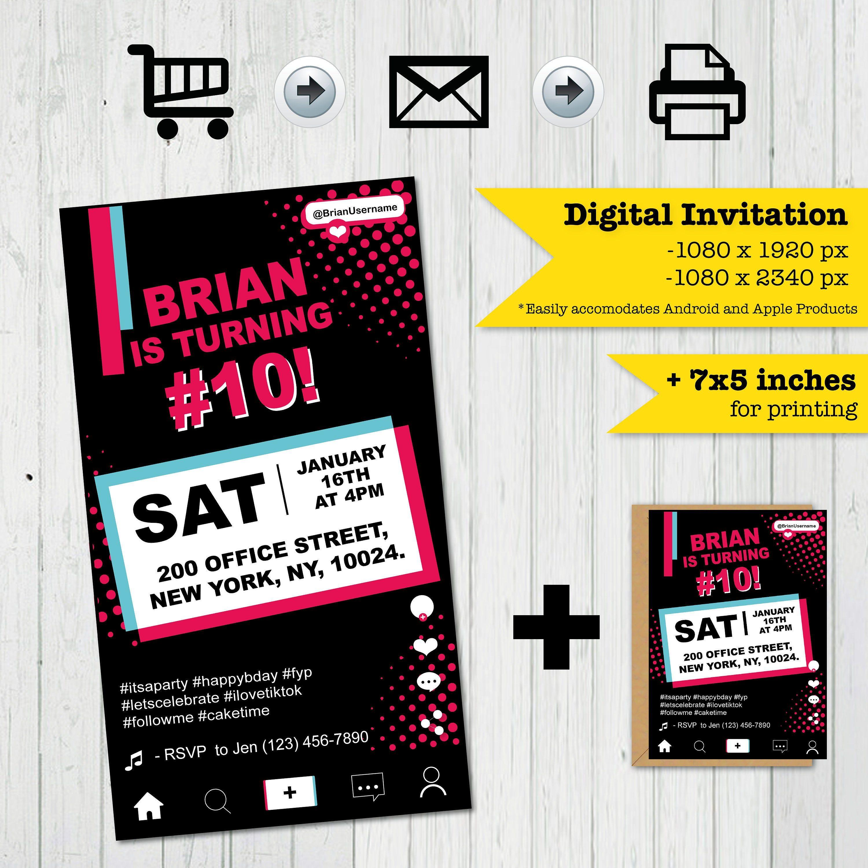 Digital Tiktok Party Invitation Tik Tok Party Tik Tok Etsy Digital Invitations Party Invitations Invitations