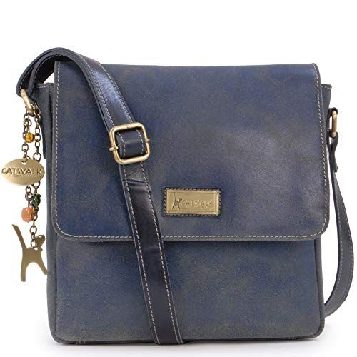 c732f05b72c2 Catwalk Collection Handbags - Ladies Medium Distressed Leather Messenger Bag  - Women's Cross Body Organiser Work Bag - Tablet/iPad Bag - Sabine - Blue