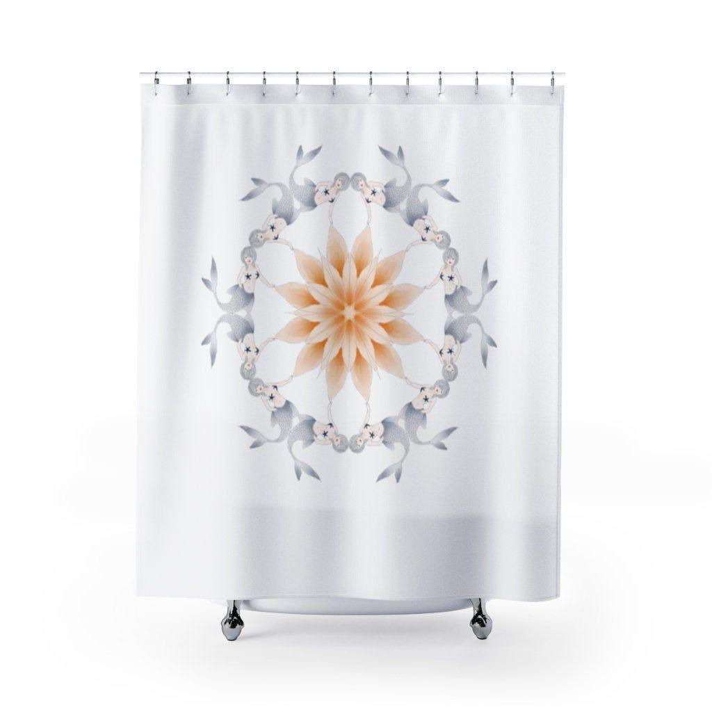 Shower Curtain Mermaid Mandala Shower Curtain Zen Shower Curtain