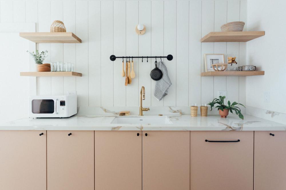 Ikea Kitchen Upgrade With Semhandmade Cabinet Doors In Pale Pink In 2020 Ikea Kitchen Ikea Kitchen Cabinets Kitchen Cabinet Doors