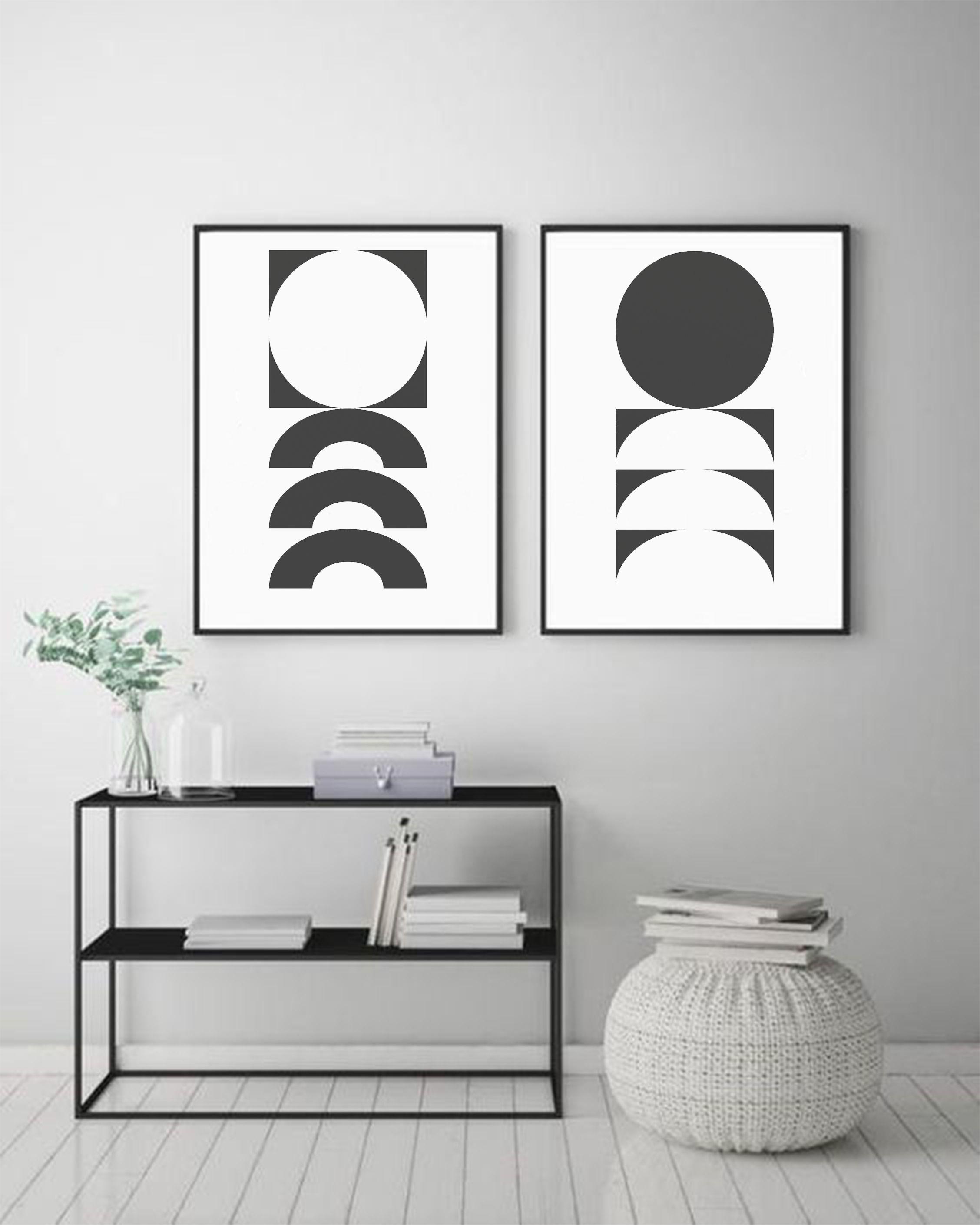 Geometric Black White Art Abstract Print Art Minimalist Etsy In 2020 Modern Room Decor Black White Art White Art