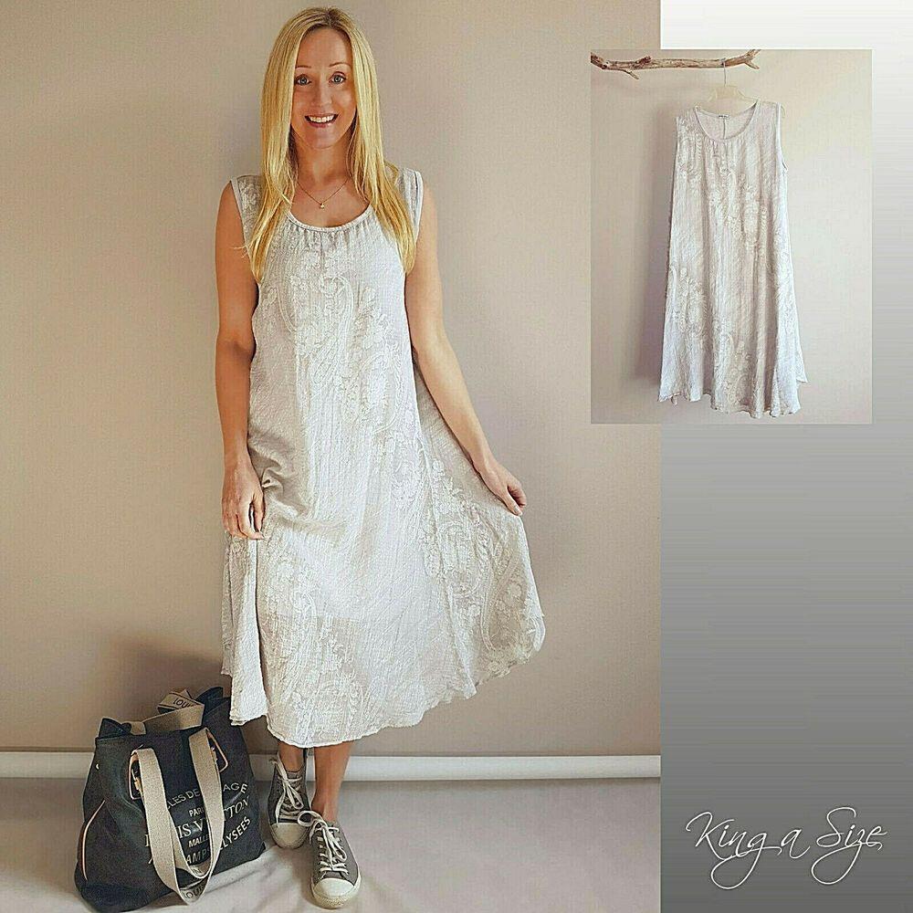 italy sommer kleid lagenlook strandkleid cotton/viskose gr