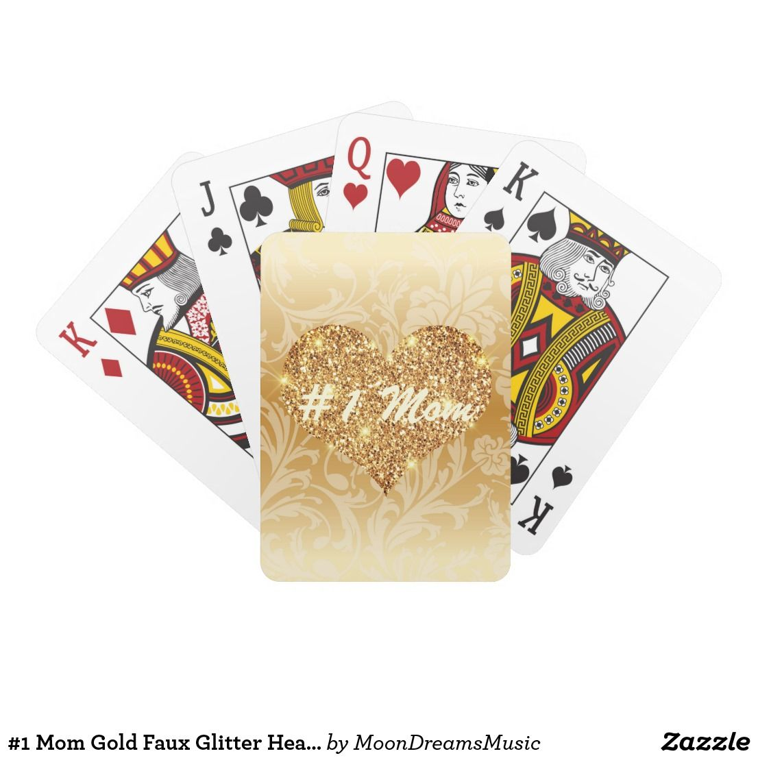 #1Mom #GoldFauxGlitterHeart #Floral #PlayingCards by #MoonDreamsDesigns #MothersDayGift #GiftForMom