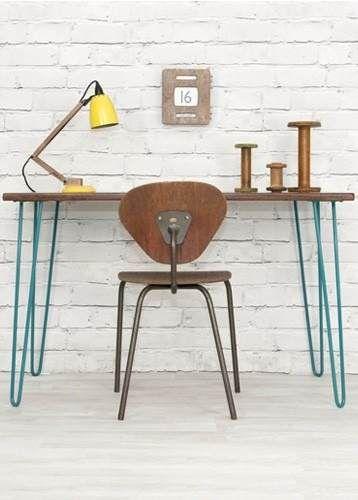 Mesa escritorio moderno vintage madera y pata acero edes for Muebles de oficina vintage