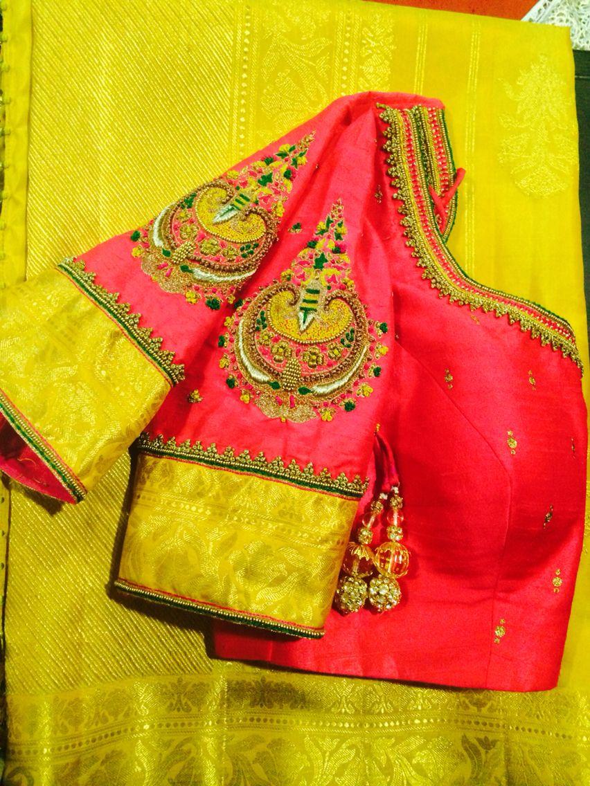 Readymade silk saree blouse with antique bead aari work and matching mask  Ready to wear women\u2019s sari top size 36\u201d adjustable up to 38\u201d