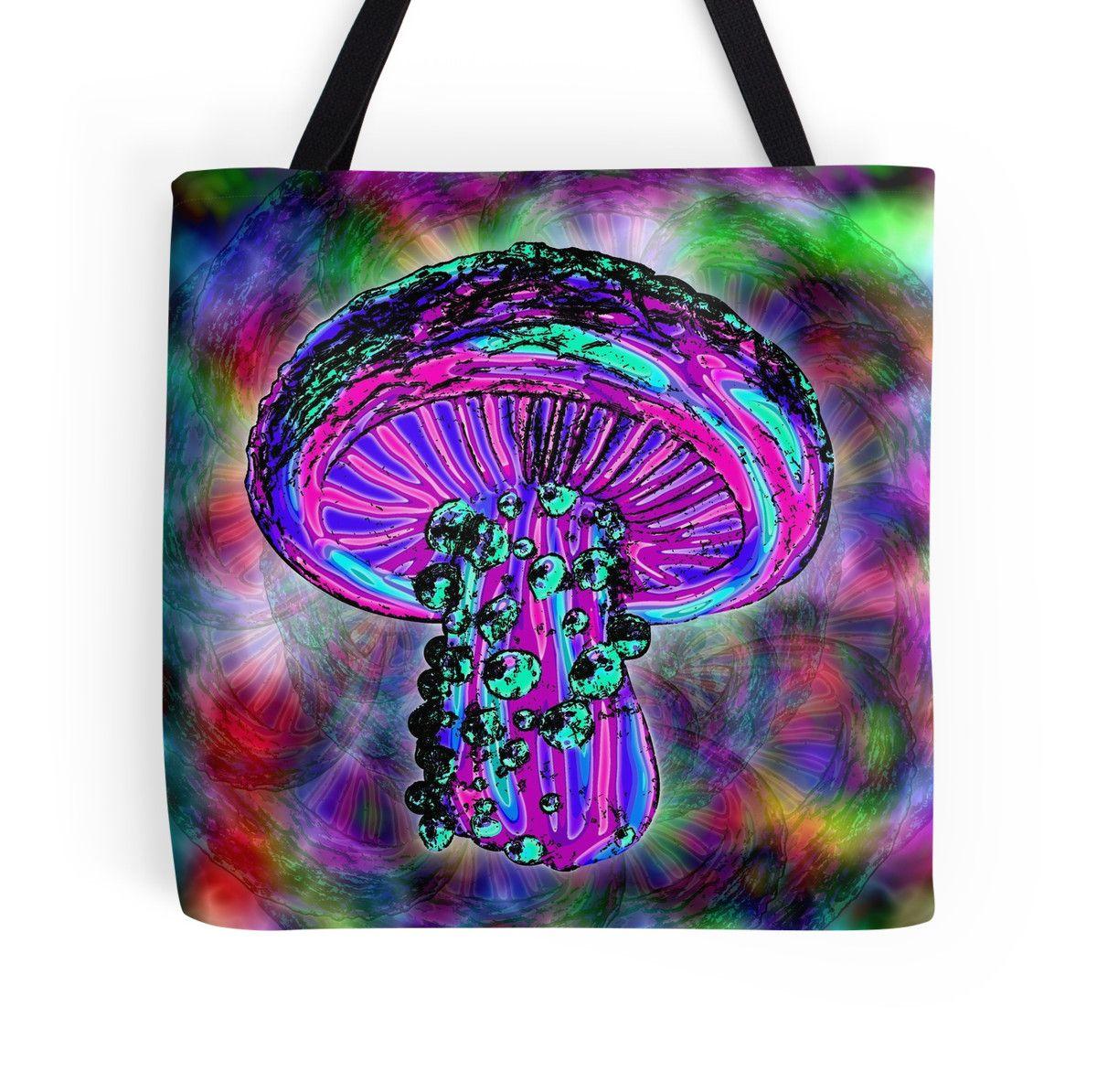 Trippy Shroom tote bag by GrimDork. shrooms, colorful, 420