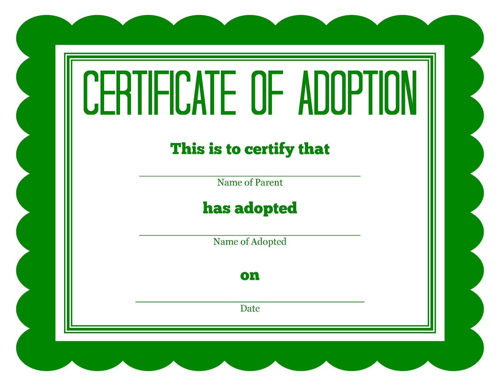 FREE Printable Stuffed Animal Adoption Certificates http ...