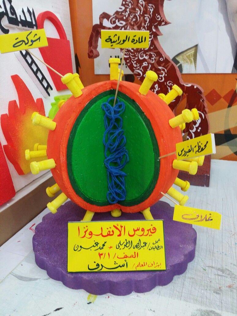 من أعمالي مجسم فيروس الأنفلونزا نحت بالفوم جدة Diy Science School Displays Teaching Biology