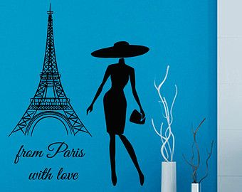 Eiffel Tower Wall Decals Wall Quotes From Paris With Love Vinyl Sticker Woman Words Home Decor Vinyl Art Wall Decor Nursery Room Decor KG434