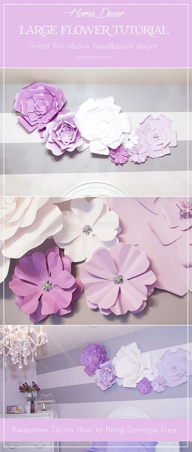 Fabulously Purple DIY Room Decor Ideas  Large paper flowers