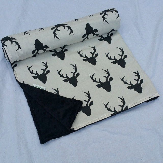 Minky Blanket- Buck Forest- Deer Blanket- Black and White by WatchMyDive on Etsy