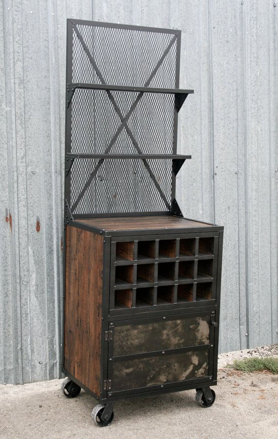Industrial Liquor Cabinet, Reclaimed Wood Bar Cart. Wine Bottle Storage.  Handmade And Customizable