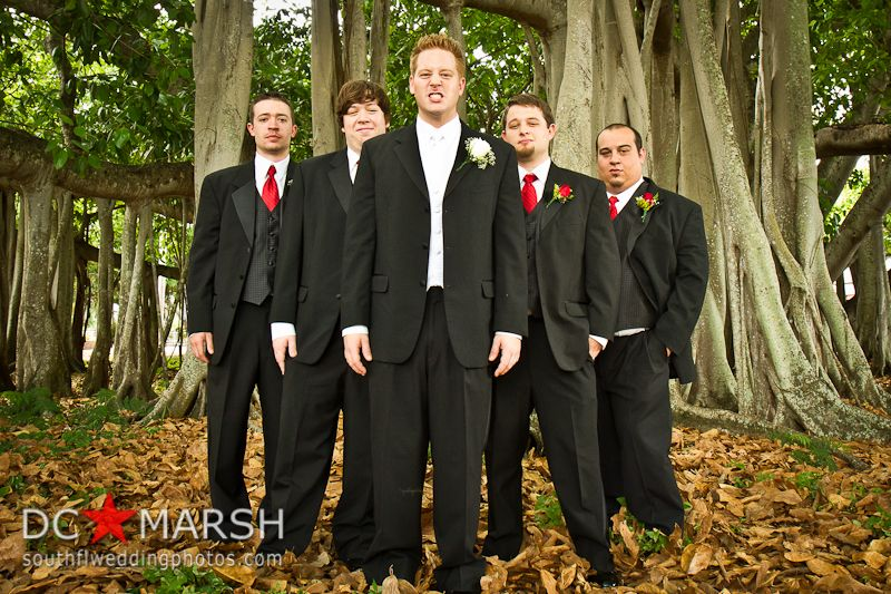 Red Tie Groomsmen Under Tree Historic Florida Wedding