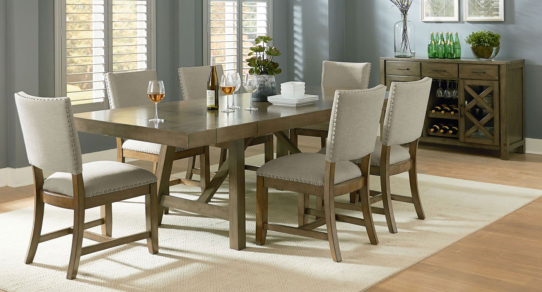 omaha dining room set w upholstered chairs grey