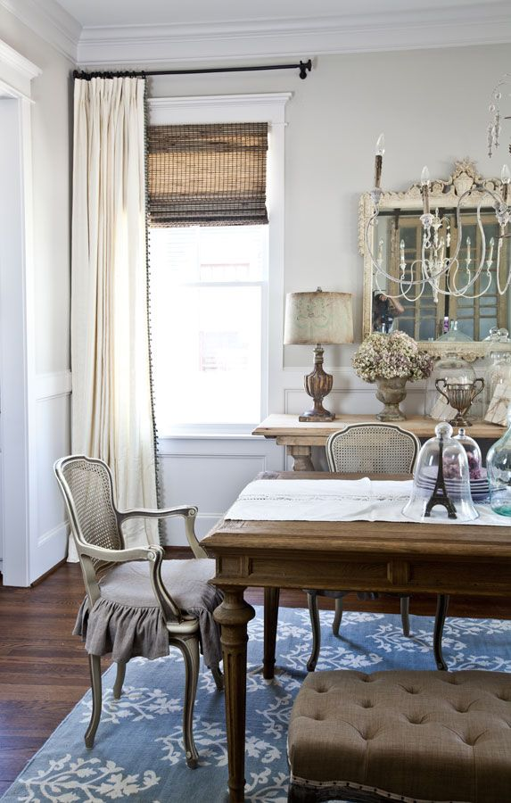 Cream Curtains Dining Room With Blue Rug