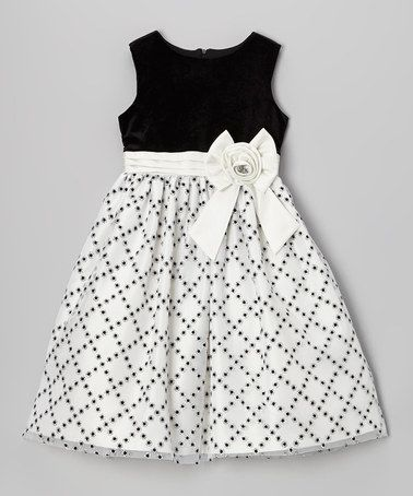Look at this #zulilyfind! Black & White Glitter Diamond Dress ...