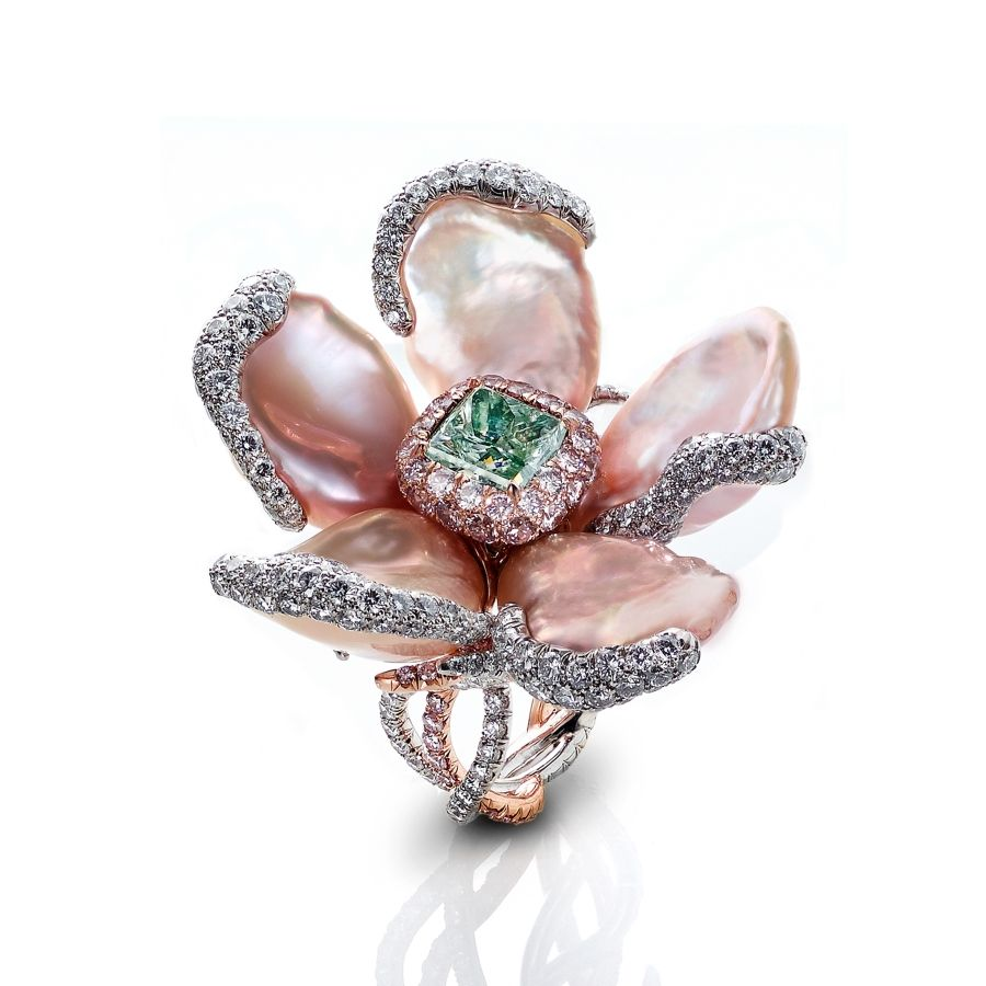 LevievRadiant-Cut Fancy Green Diamond and Keshi Pearl Ring | Editorialist
