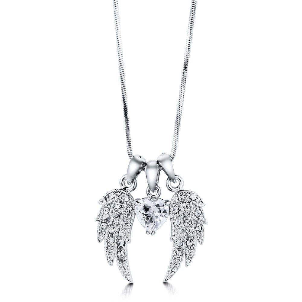 White Gold plated Angel Women's Pendant Necklace with Pave-set Zircon Diamond 2bWN5Zs15Z