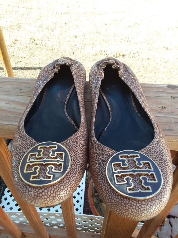 b747fa1633ab3c TORY BURCH Reva coconut brown stingray logo detail ballet flats size ...