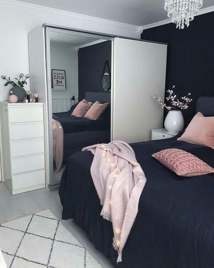 Navy blue, pink, white, cute bedroom idea | Stylish ...