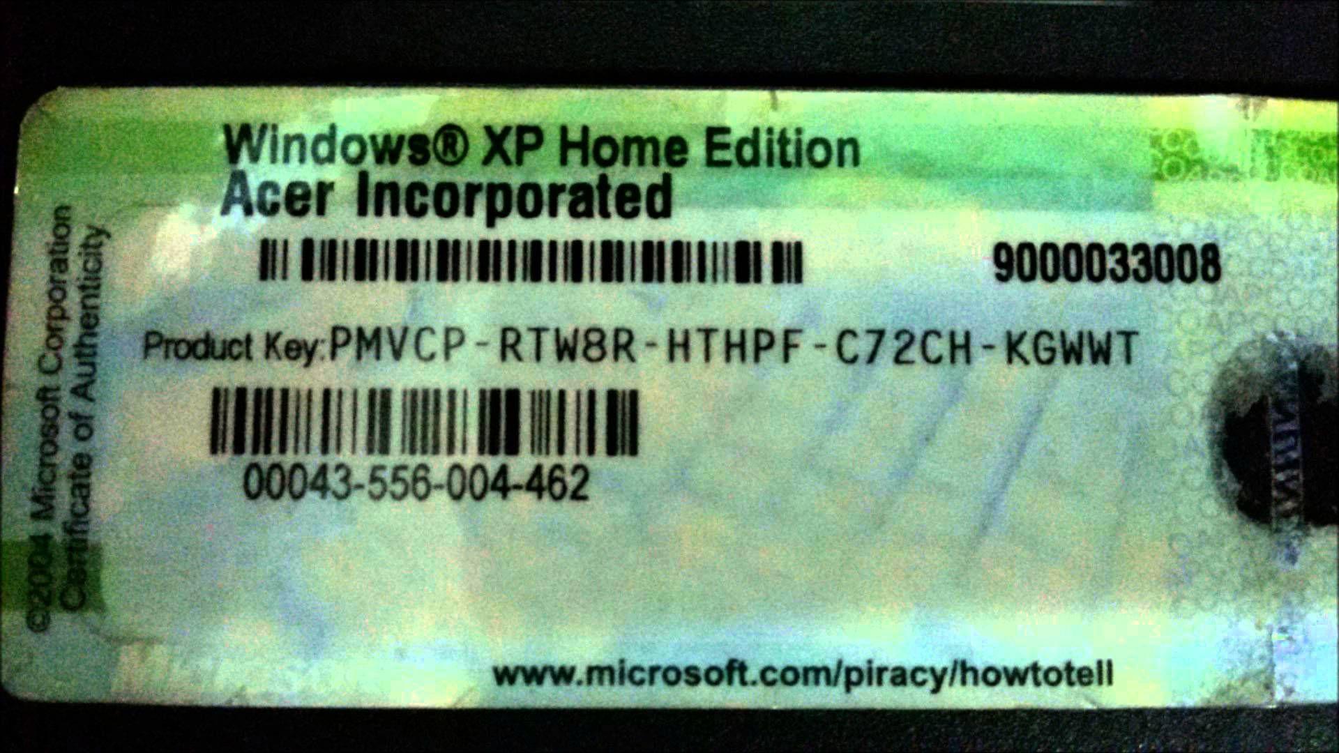 serial windows xp home edition