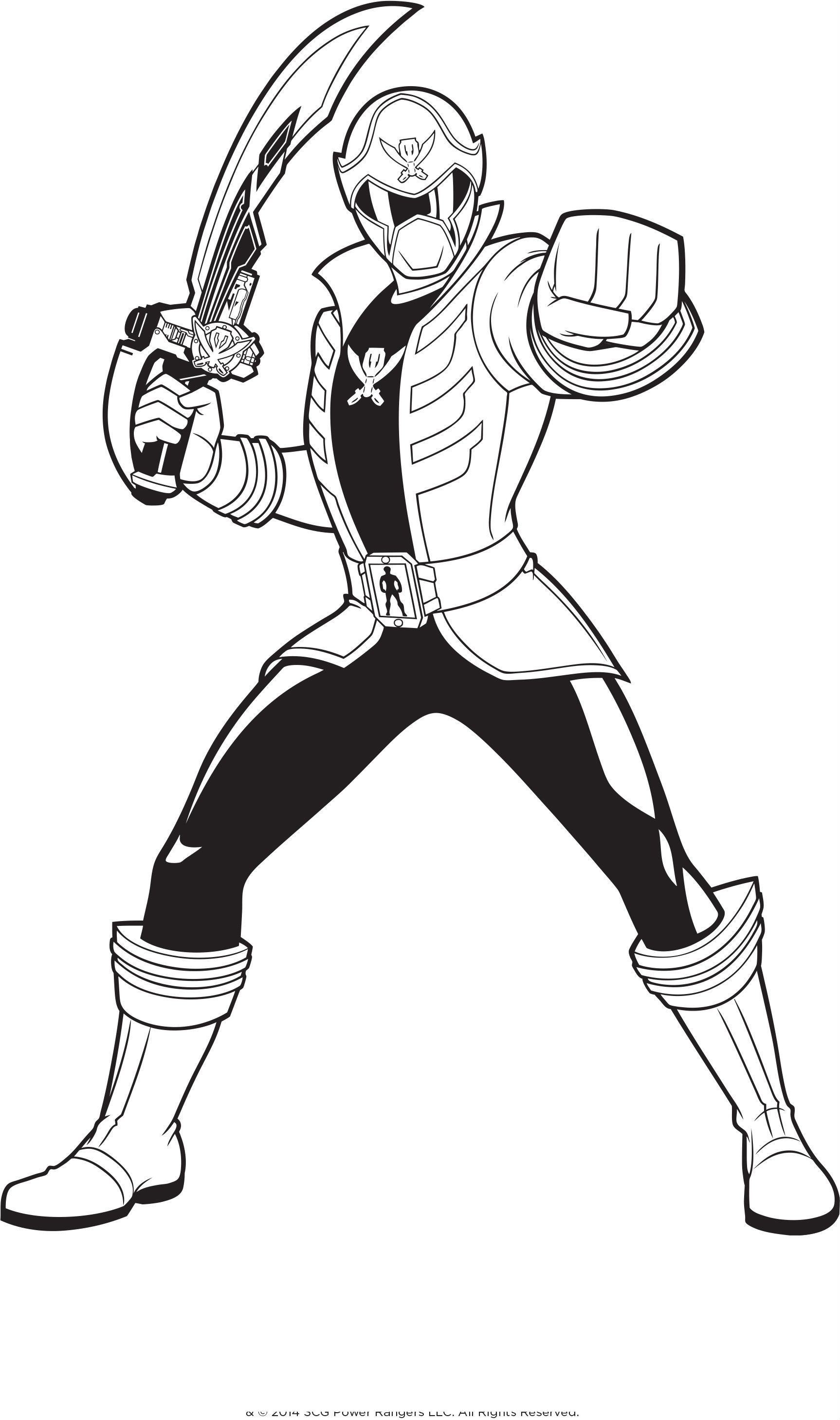 Power Rangers Holding A Sword | Power Rangers Coloring Pages ...