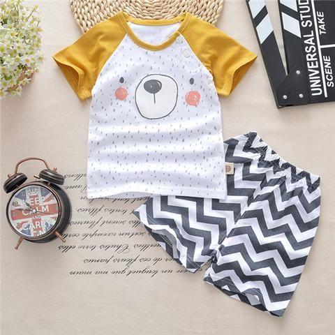 1fff5d7323c4 Newborn baby boy girl summer cotton t-shirt+short pant clothes ...