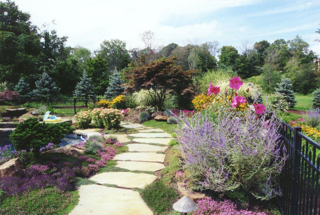 Perennial & Annual Garden With Natural Garden Pathway in