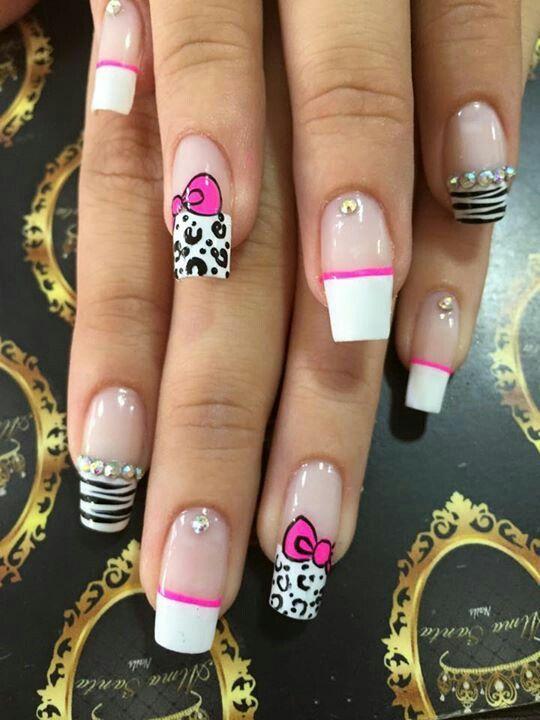 Uñas frances blanco animal print | Uñas con diseños | Pinterest ...