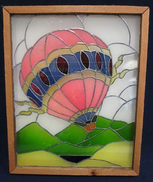 Antique Wood Framed Stained Glass Hot Air Balloon | Victorian Era ...