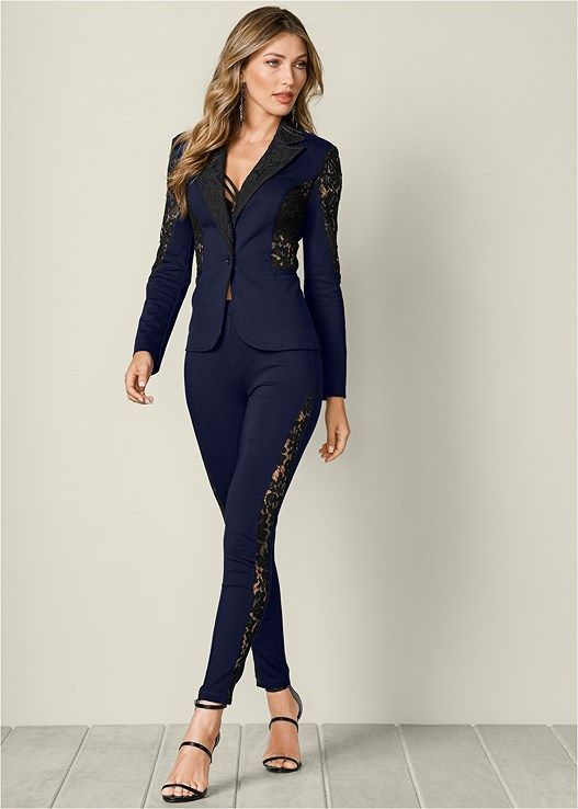 06d801da32788 Venus Women s Lace Inset Pant Suit Set Pants - Black blue
