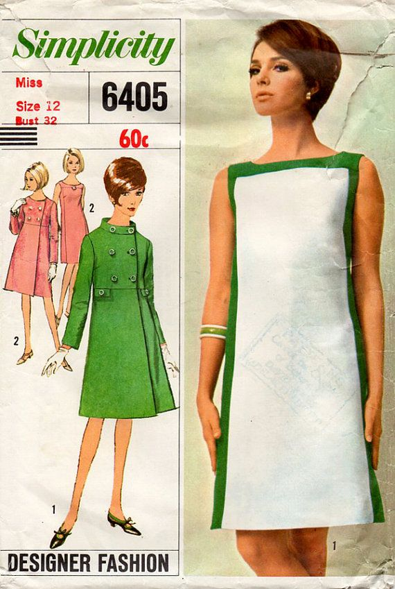 1960s Mod Dress Coat Vintage Sewing Pattern Simplicity 6405
