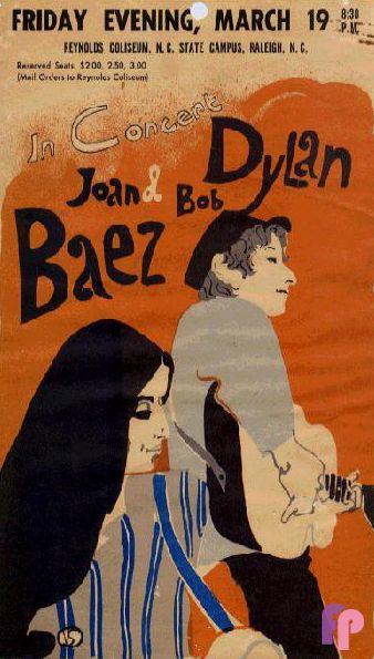 Bob Dylan /& Joan Baez 1965 vintage concert poster