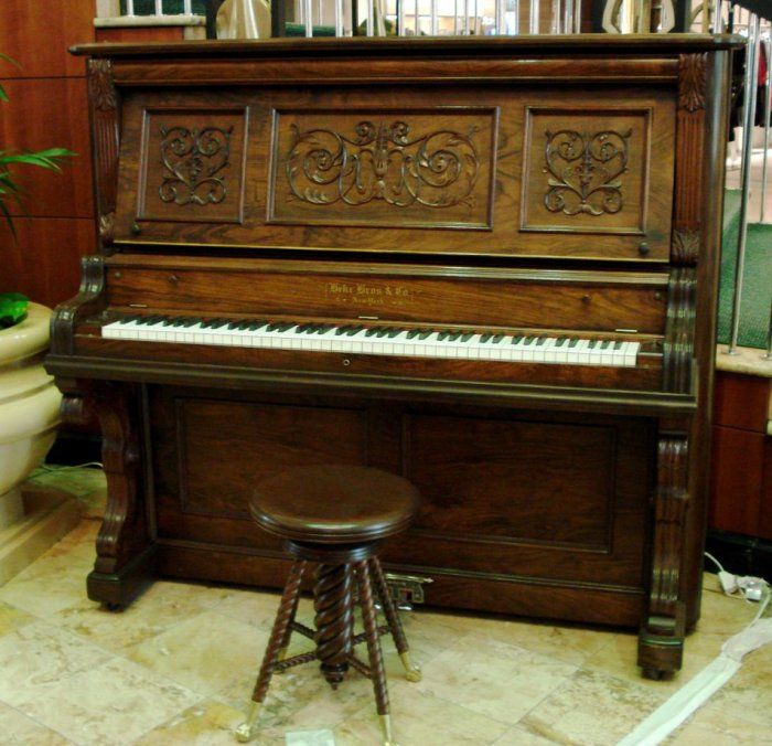 Lavish Behr Brothers Carved Victorian Upright Piano In Stunning