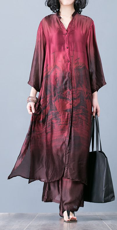 Natural red prints Silk outfit Pakistani pattern with wide leg pants oversized summer two pieces Dresses#redprintsdress#vneckdress #printpatterns