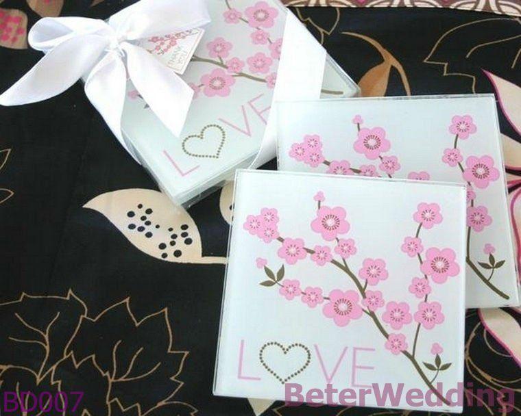 Free Shipping 2set 4pcs Cherry Blossom Love Glass Coaster Wedding